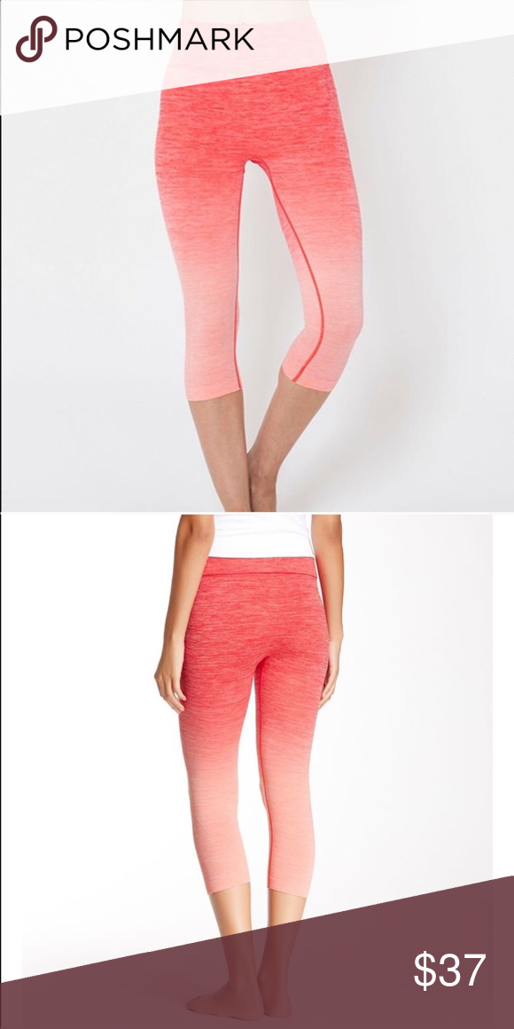 Workout Capri Ombré style Capri in coral, very stretchy, high waist, New without tag Electric Yoga Pants Capris