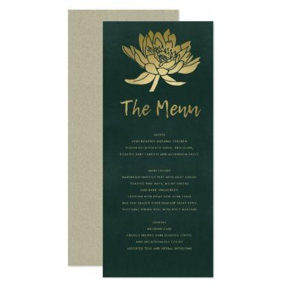 Glamorous Gold Dark Green Lotus Floral Menu Zazzle Com Reception Card Diy Bridal Shower Gifts Wedding Party Cards
