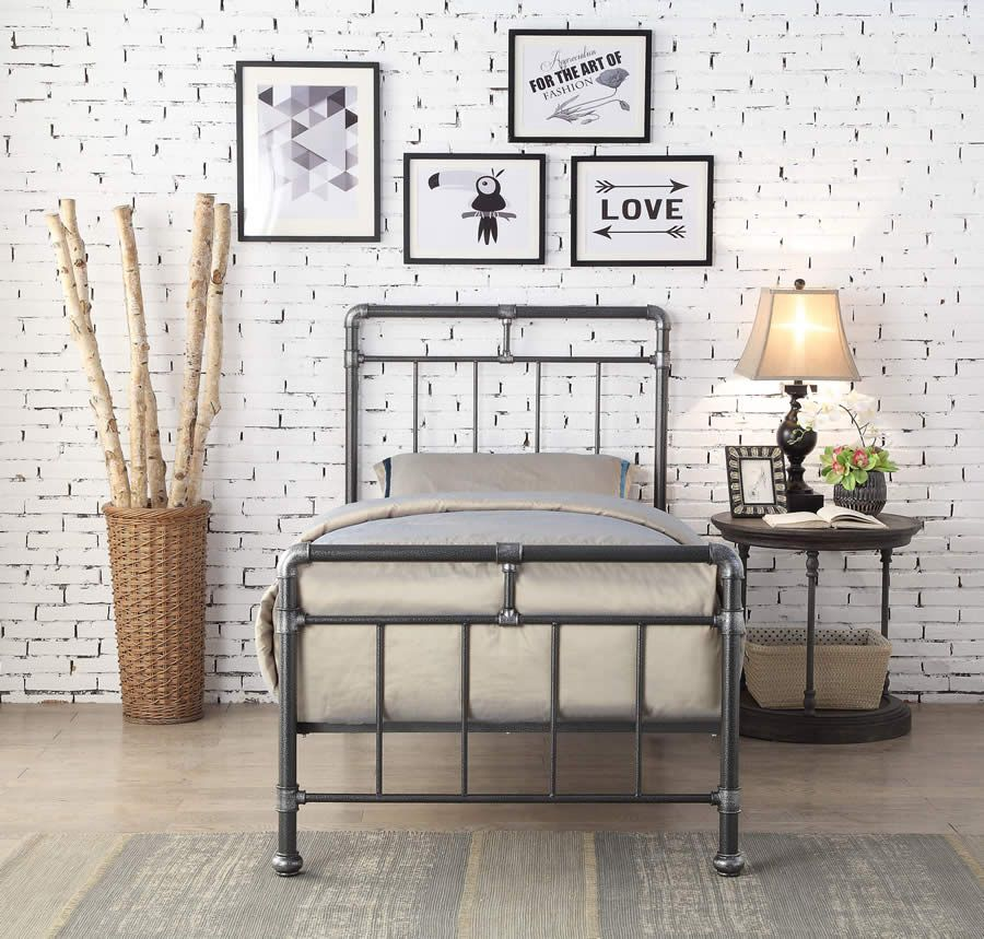 Cilcain Black Silver Metal Bed Frame In 2019 Metal Beds Bed