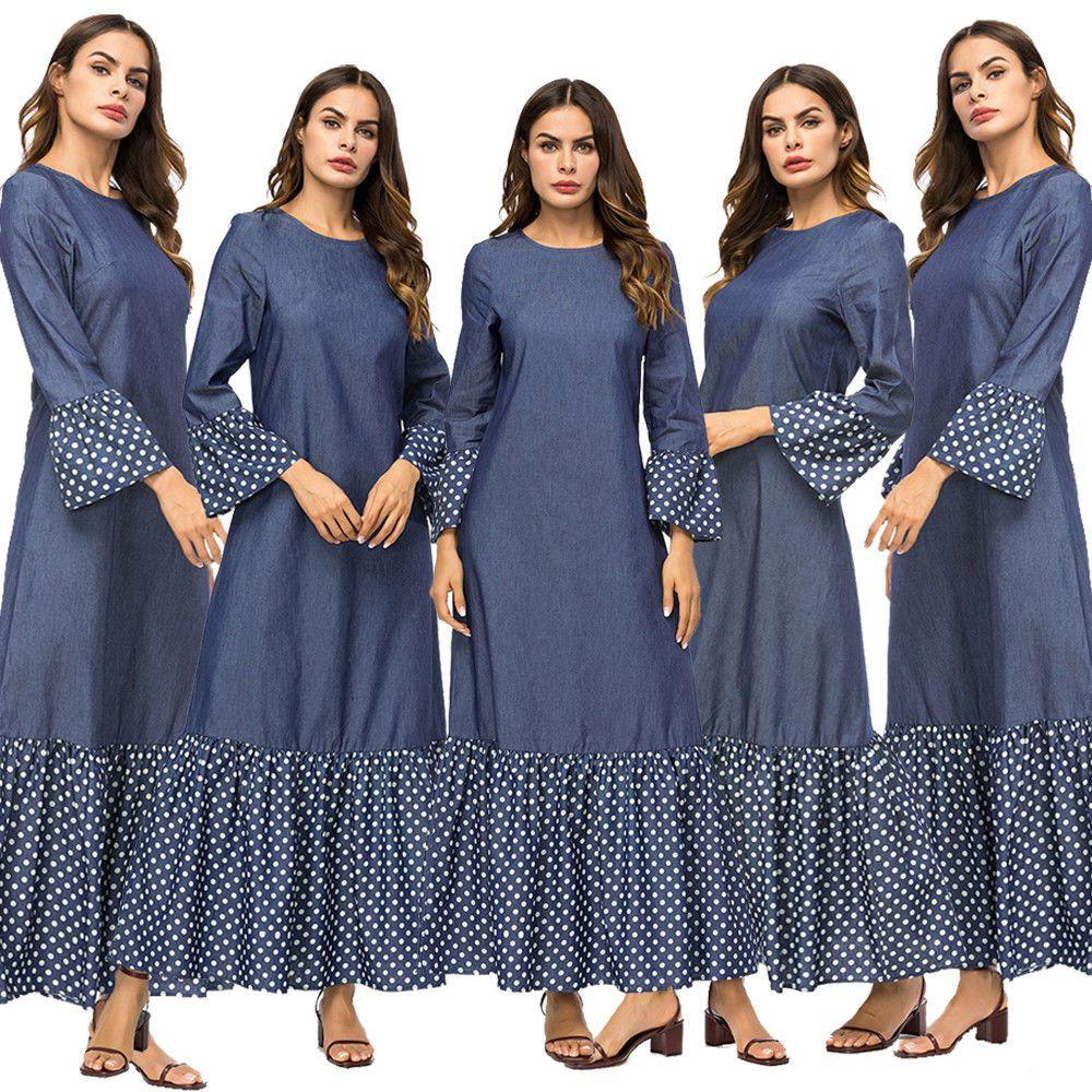 0e23a2e41f  DenimDress Polka Dot Women s Maxi Dress New Muslim Denim Abaya Dubai  Kaftan Stitching Robe - Denim Dress  29.88 End Date  Monday Nov-5-2018  8 00 41 PST Buy ...