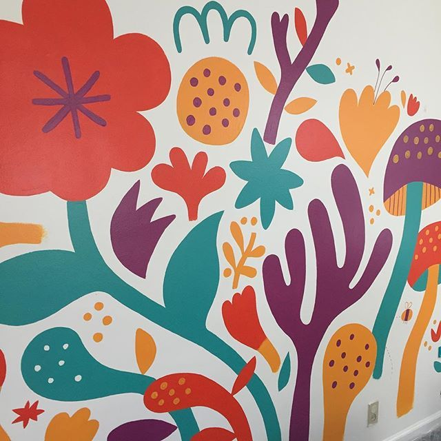 Finishing up the playroom mural on this lovely Sunday