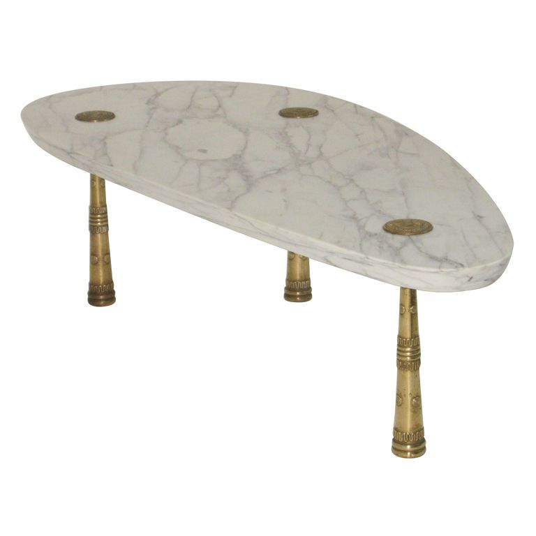 Monteverdi - Young Mid Century Marble Cocktail Table Bronze Legs | From a unique collection of antique and modern coffee and cocktail tables at http://www.1stdibs.com/furniture/tables/coffee-tables-cocktail-tables/