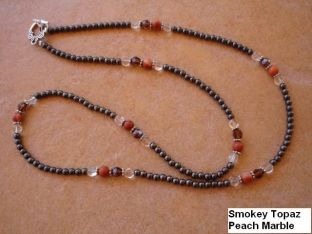 Smoky Topaz and Red Onyx Necklace, with Hematite beads. $15. See it on the website: www.wigirldesigns.com