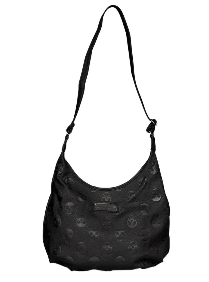 Embossed Skull Crossbody Hobo Bag By Loungefly Black Inked Style Womens
