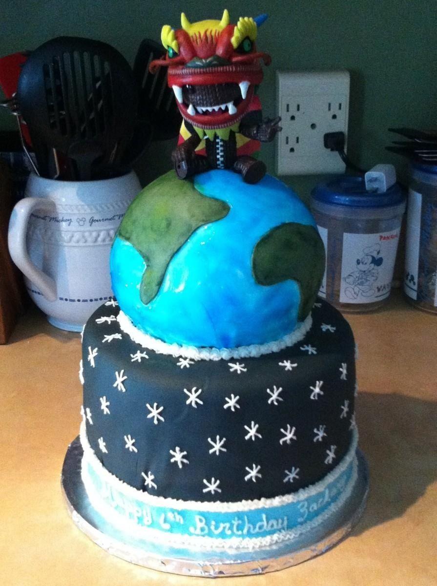 Excellent Little Big Planet Birthday Cake Planet Birthday Cake Birthday Cake Birthday Cards Printable Riciscafe Filternl
