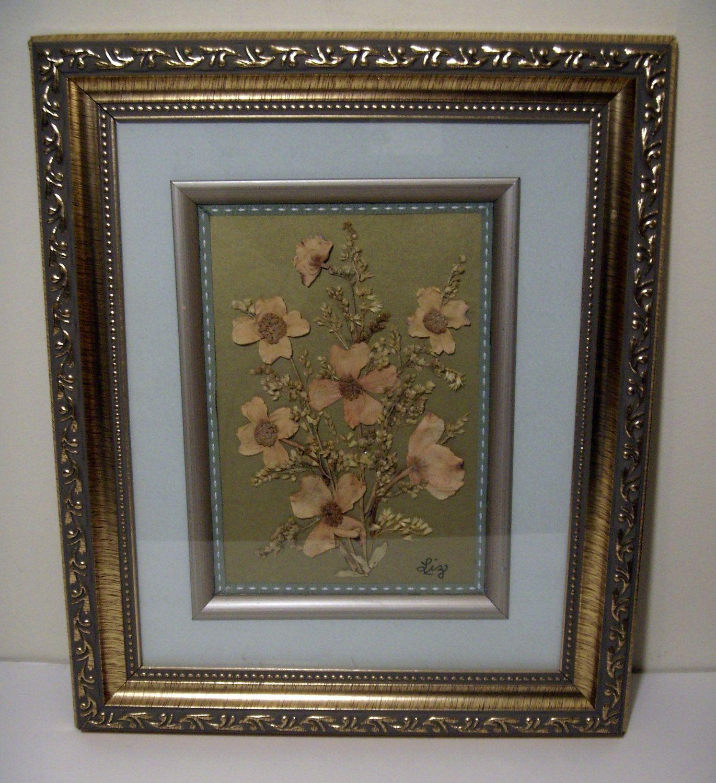 Signed Vintage Framed Pressed Flower Art $2000, Via Etsy