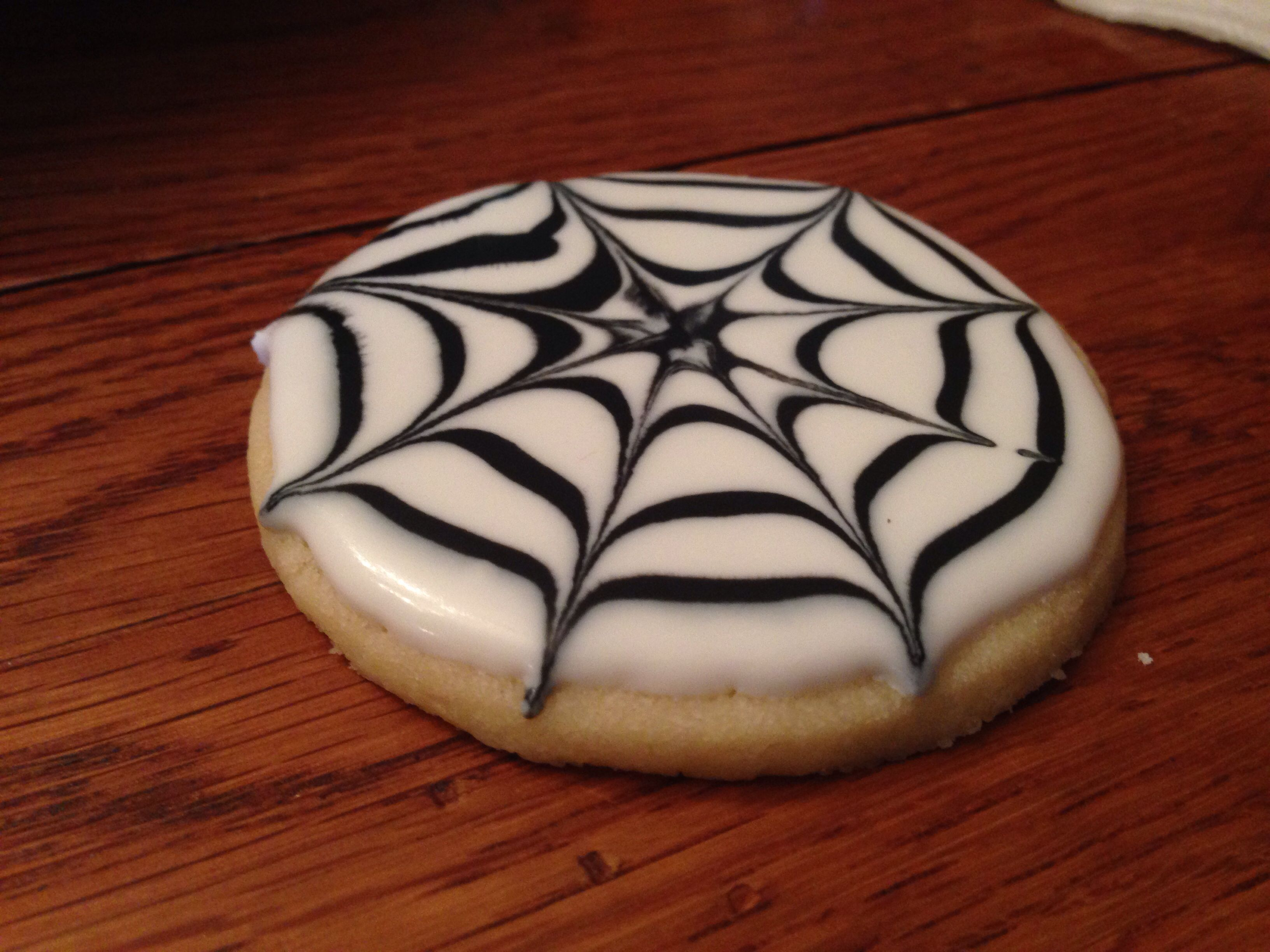 Spider web cookie. Halloween cookie. | Courtney's Confections |