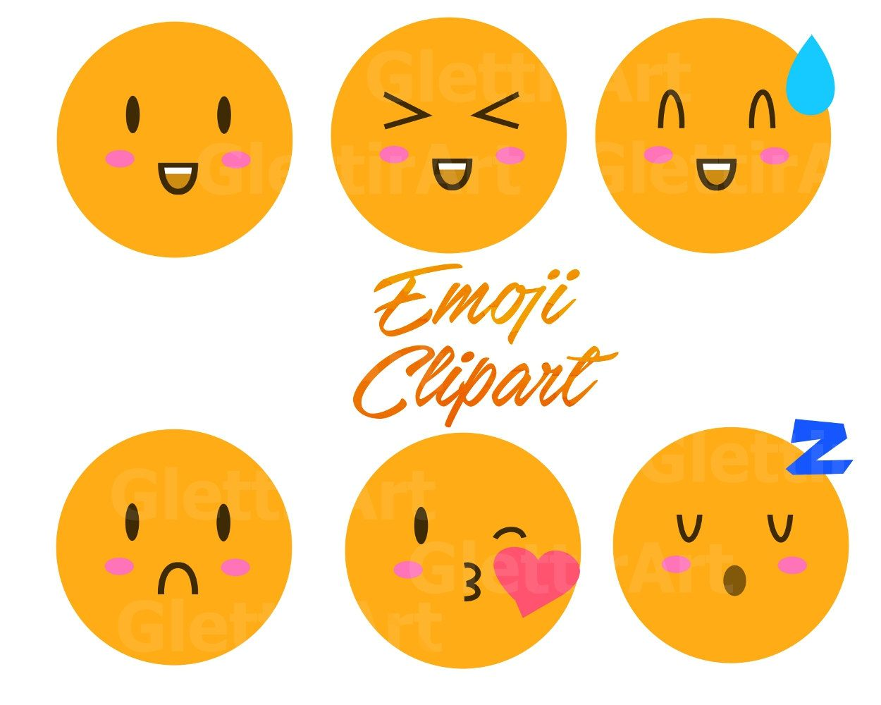 hight resolution of emoji clipart smiley face clipart emoticons clipart for personal and commercial use instant download scrapbooking planner stickers by glettirart on