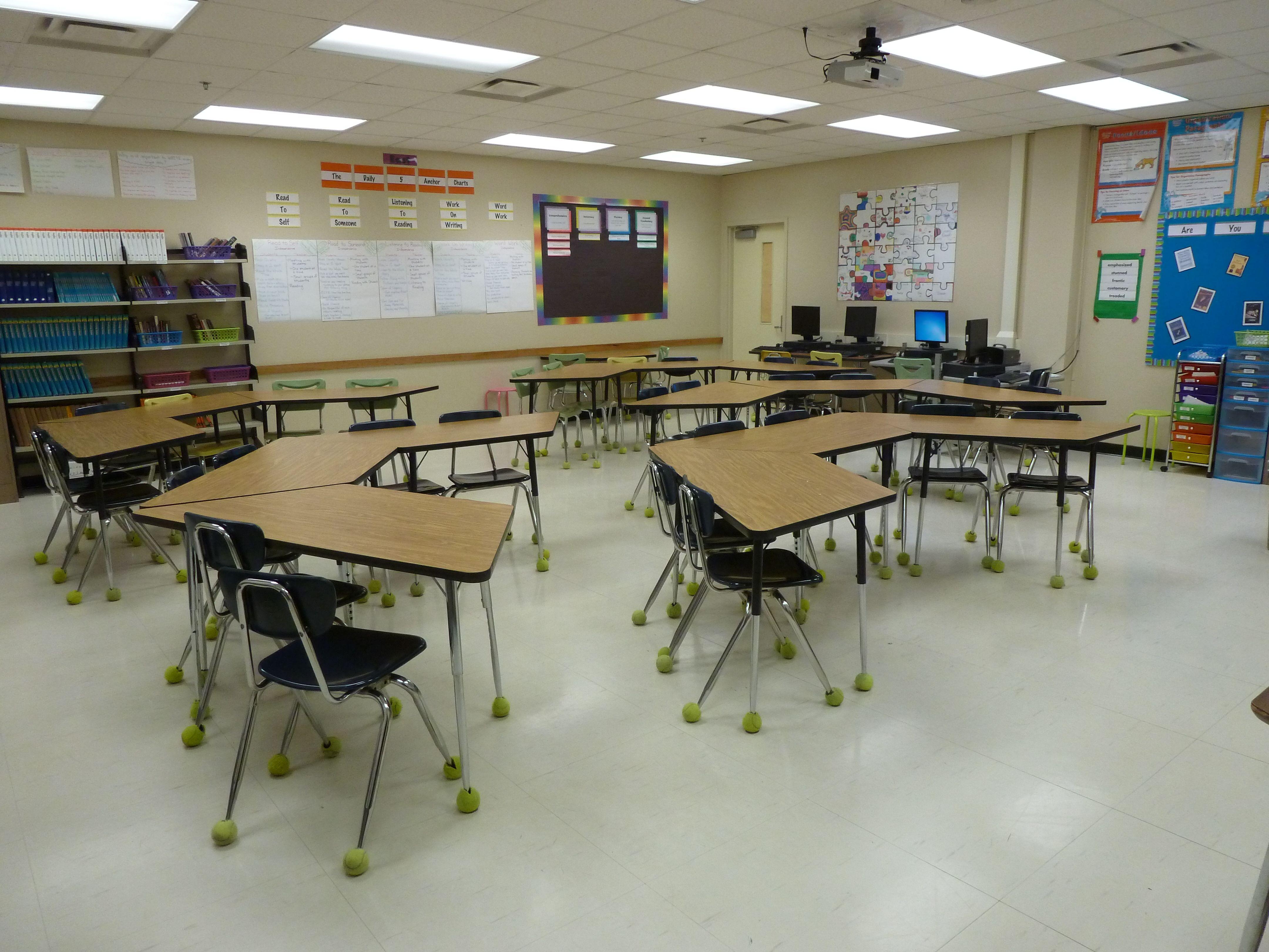 Trapezoid table classroom organization classroom desk - Interior arrangement and design association ...