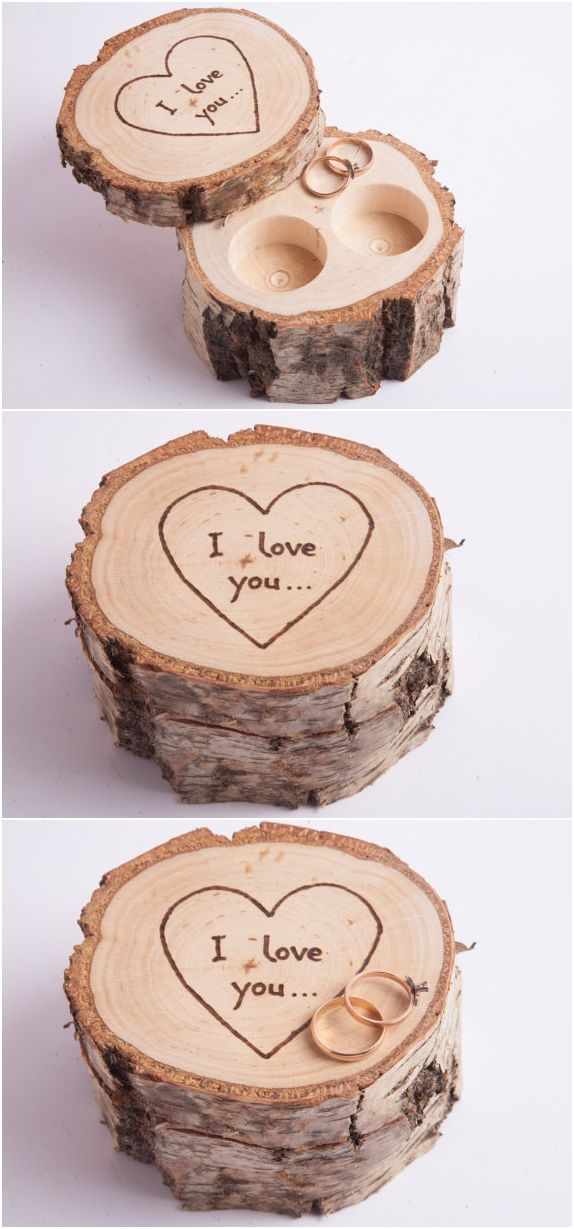 efc53e920e Wooden ring box, ring bearer pillow, birch jewelry box, rustic wedding ring  holder