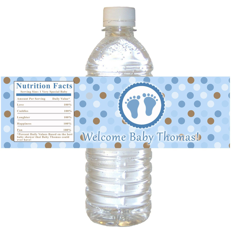 Blue Brown Baby Shower Bottle Label Polka Dots Boy Baby Shower