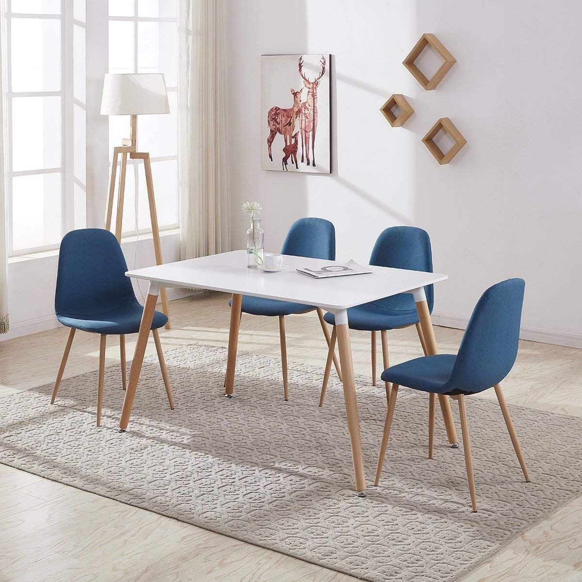 Gizza Wood Rectangular Dining Table With 4 Retro Metal Chairs Set