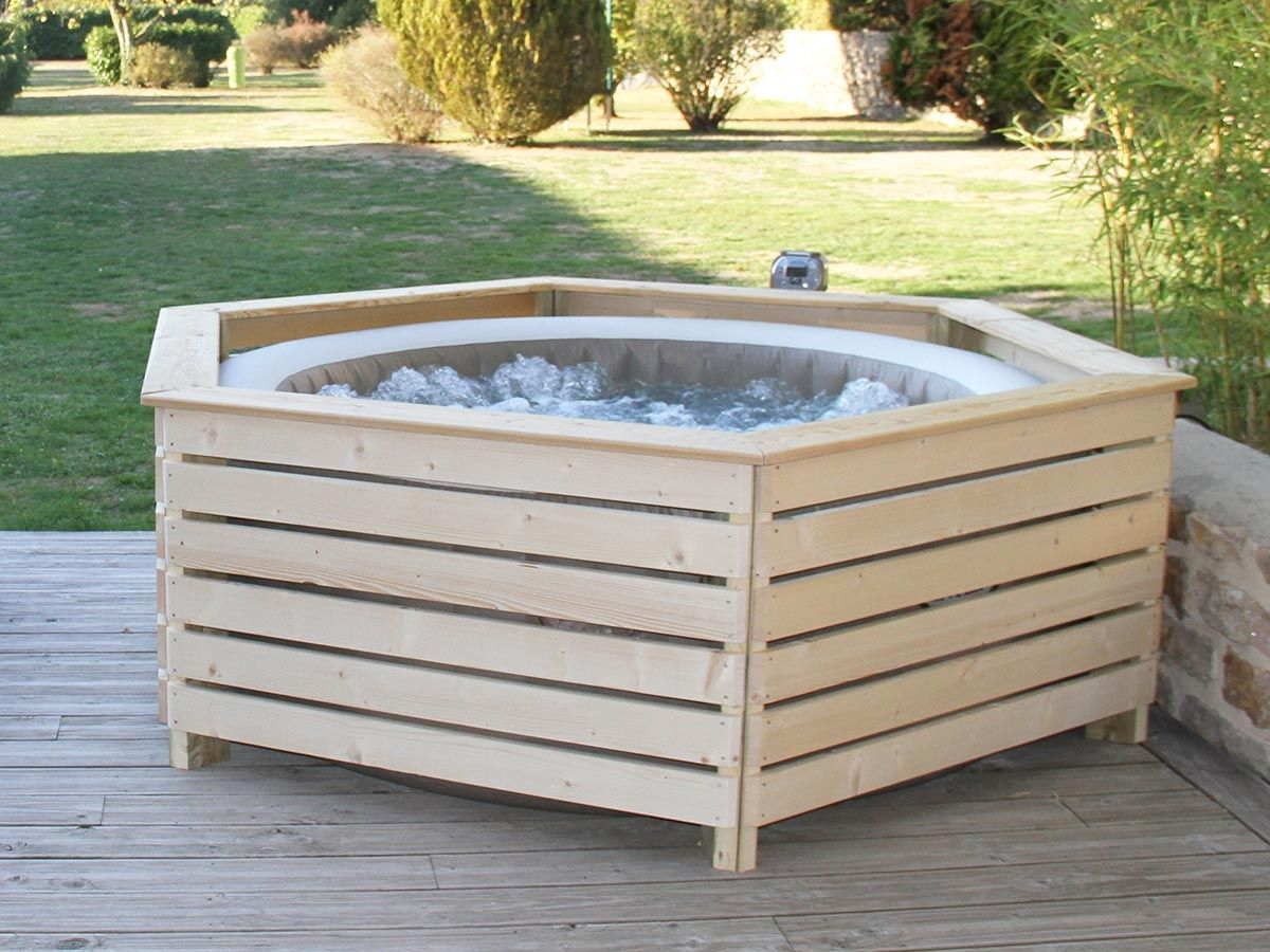 Intex Inflatable Spa Wooden Cladding Aquazendo Entourage Wood Cladding For Inflatable Spa Intex Made In 2020 Hot Tub Garden Hot Tub Surround Inflatable Hot Tubs