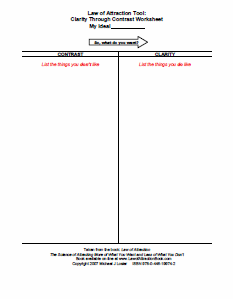 Law Of Attraction Worksheets Life Inspiration Law Of Attraction