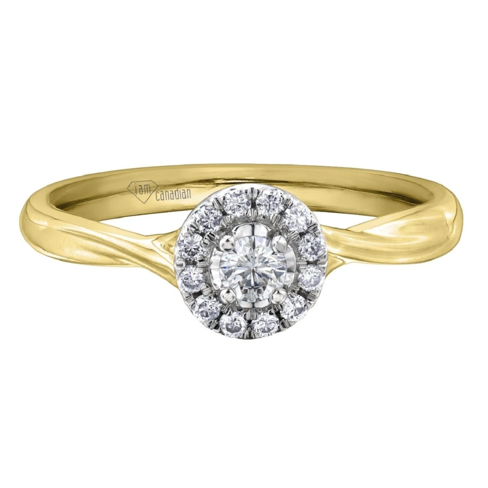 White and Yellow Gold Canadian Diamond Engagement Ring