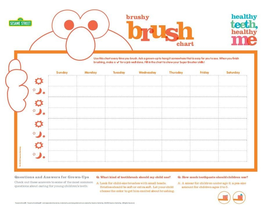 Elmo Wants To Help Your Child Become A Super Brusher You Can Use This Chart To Track Your Child S Progr Tooth Brushing Chart Healthy Habits Chart Reward Chart