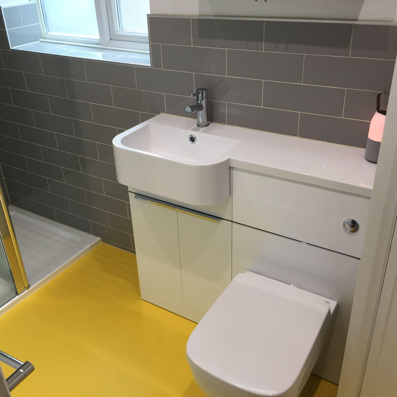 Yellow Vinyl Floor Grey Tiles Vanilla Grout Vinyl Flooring Grey Tiles Flooring