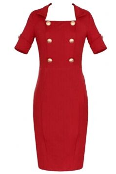 Red Ladies Double-breasted Pencil Midi Dresses