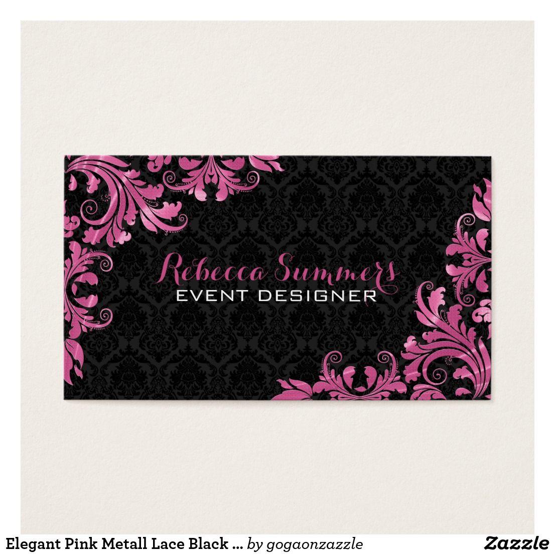 Elegant Pink Metall Lace Black Damasks Business Cards. Designed for ...