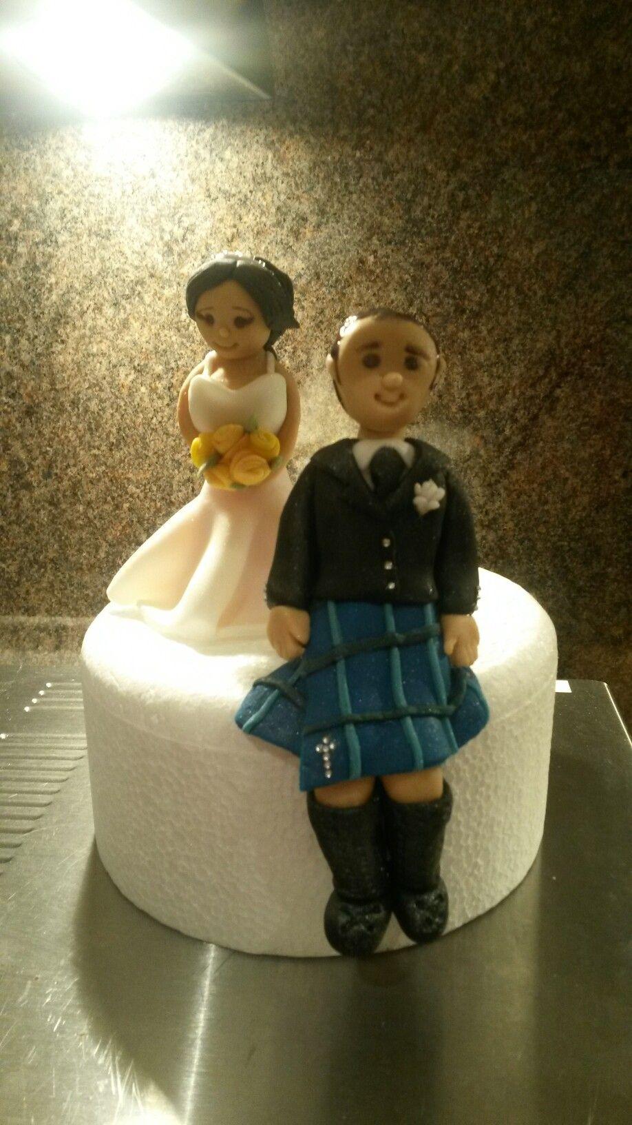 Bride And Groom Cake Toppers Scottish Wedding Kilt White Dress