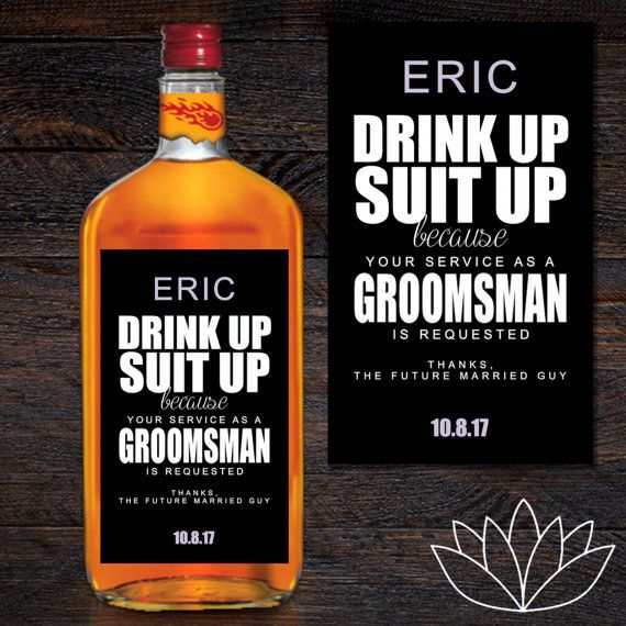This adhesive 3x5 inch whiskey bottle label allows you to custom the this adhesive 3x5 inch whiskey bottle label allows you to custom the way you ask your groomsmen and best man to take part in your big day junglespirit Choice Image