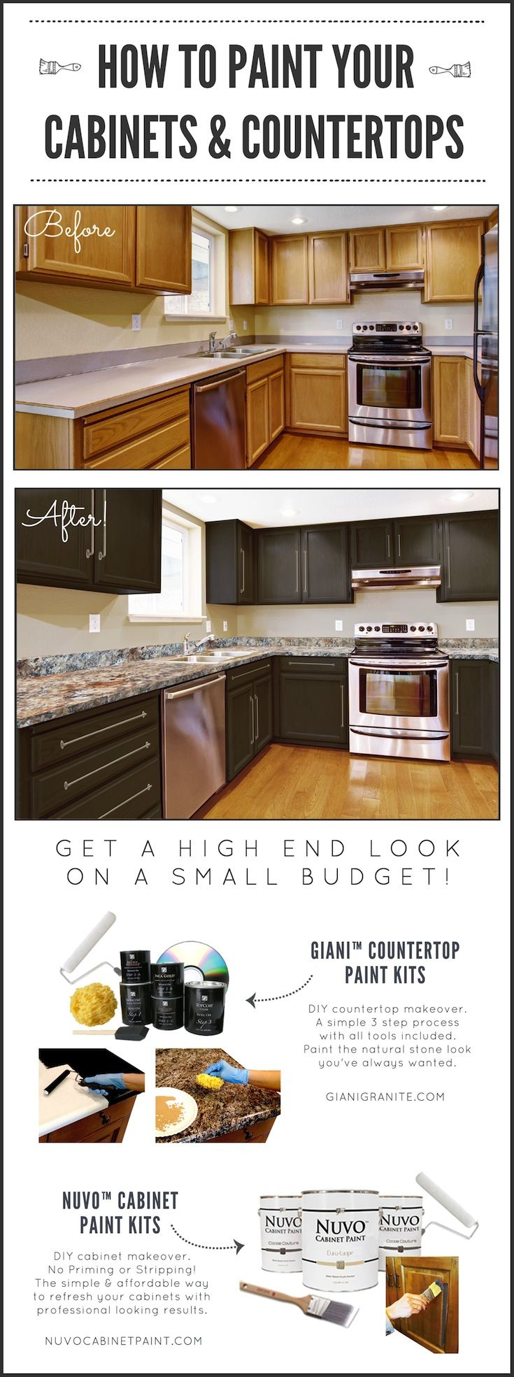 Diy Kitchen Makeover On A Budget Before And After Giani Granite Countertop Paint Kits Transform Existing Co Kitchen Diy Makeover Diy Kitchen Kitchen Makeover