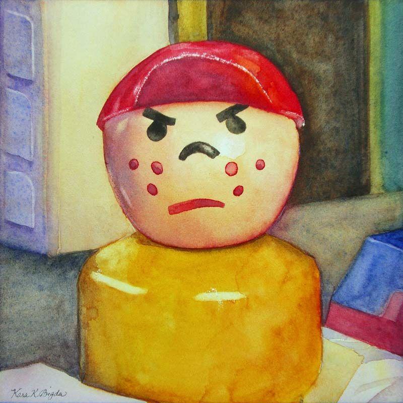 """The Grump"" 5"" x 5"" - watercolor on paper  http://www.dailypaintworks.com/Artists/kara-k-bigda-394"