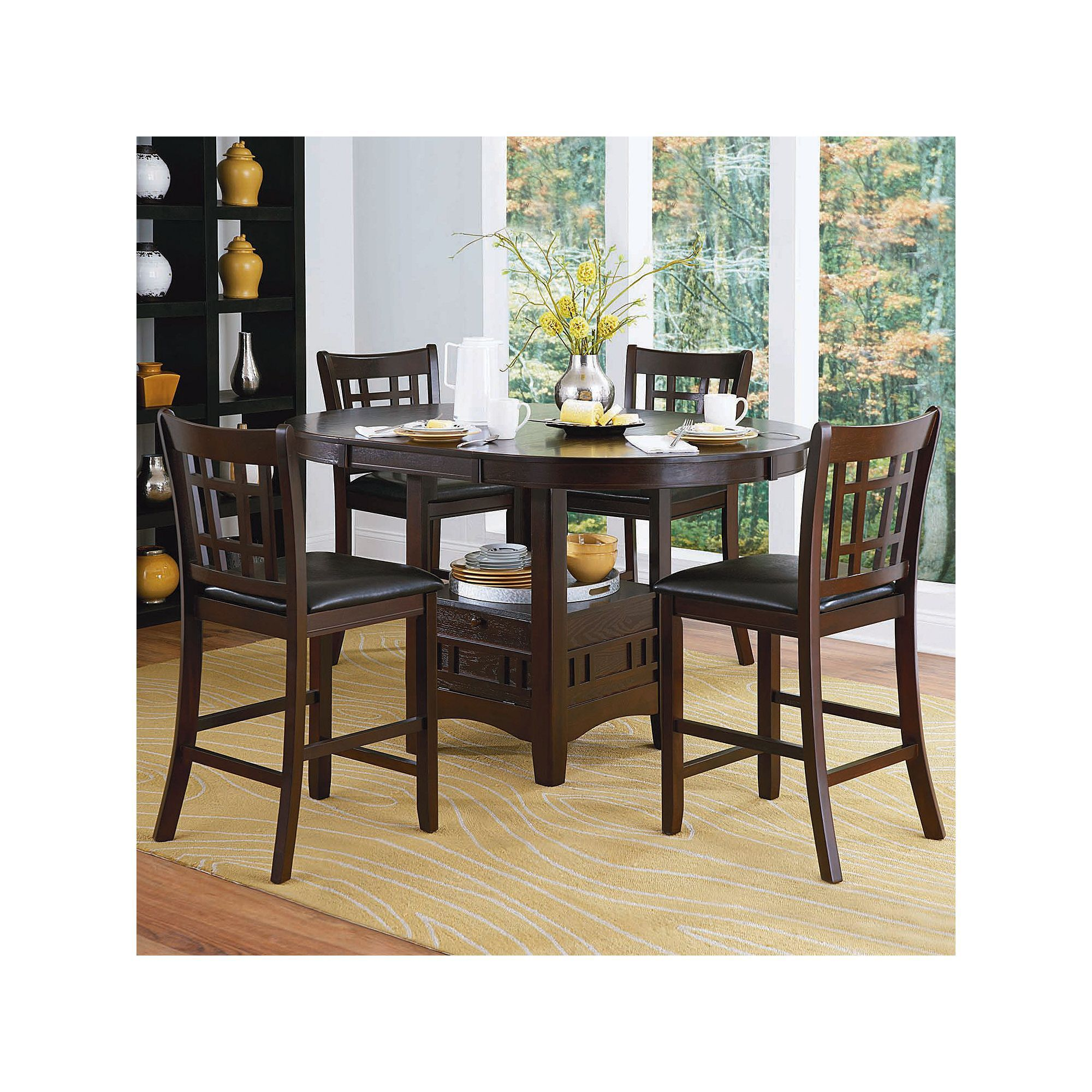 Bayberry dark cherry 44 inch round table with chairs - Homevance Verona 5 Piece Counter Height Dining Set Brown