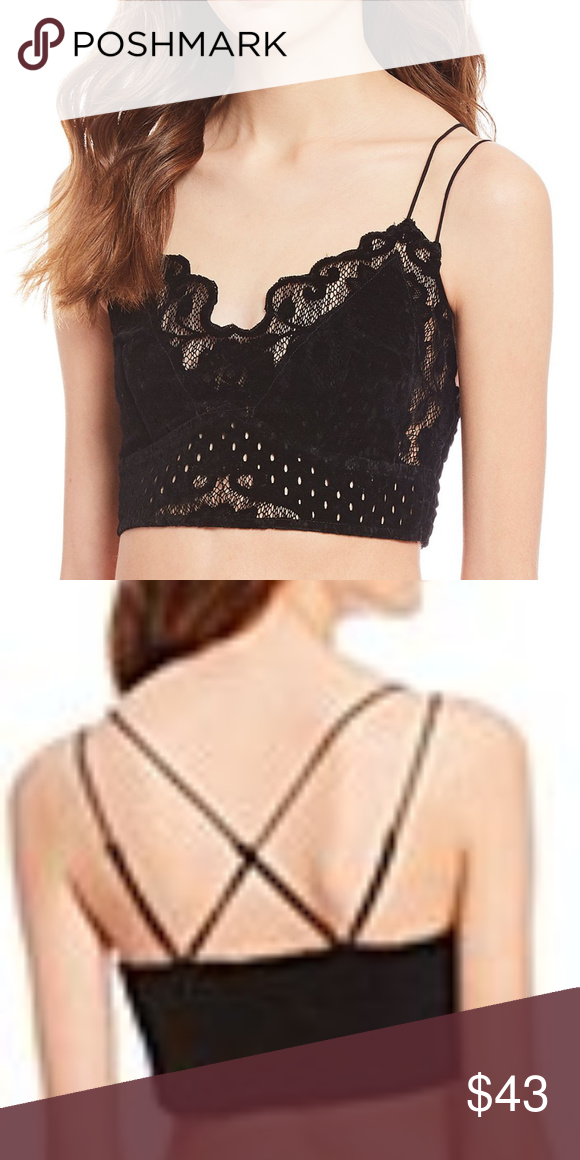 ee3e5b6a20 Madonna Bralette Color  Black Size  M Floral lace design Scalloped trim  Double adjustable straps Lined bust Nylon cotton spandex Free People  Intimates   ...