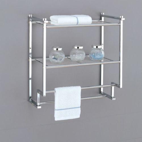 Wall Mounted Towel Rack Holder Hotel Bathroom Storage Shelf Bar ...