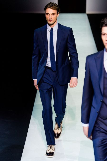 cc77ce5c4a31 Giorgio Armani Spring 2014 Men s Collection - slim fit midnight blue suit  and slim tie.