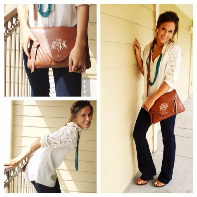 Monogrammed leather bag! I want this now