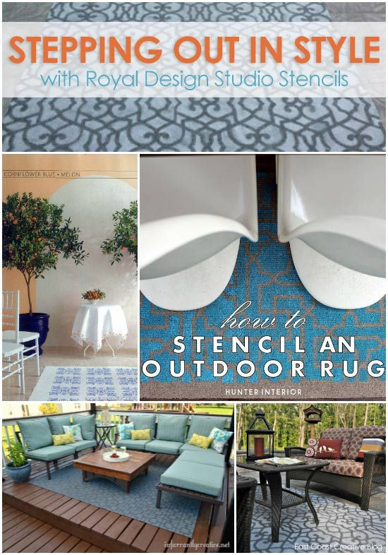 Using stencils to stencil stylish outdoor rugs. Links to 4 great blog stencil projects at Royal Design Studio stencils