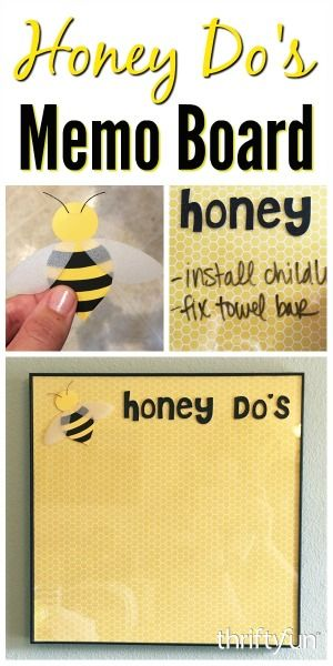 This is a guide about making a honey-do memo board. This cute honey bee themed memo board is a great way to list projects that need attention.