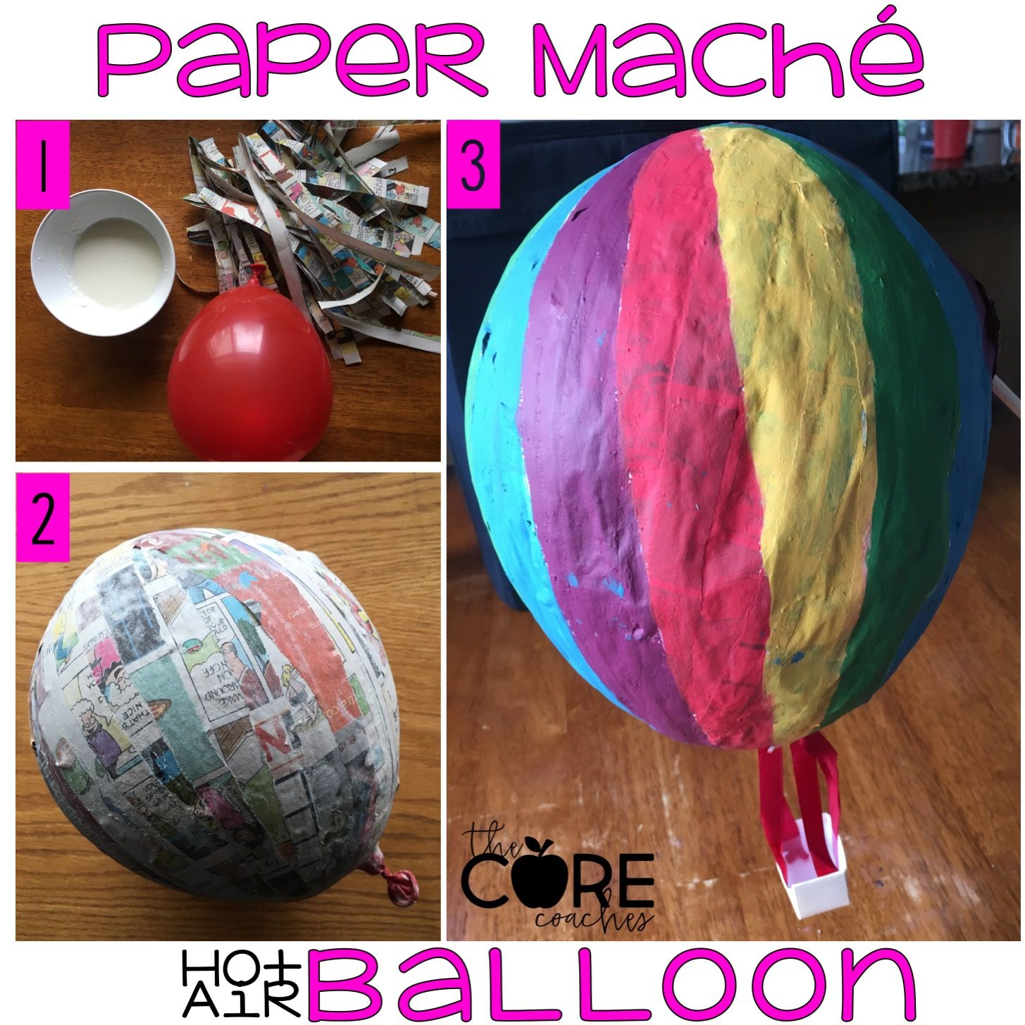 Paper Mache hot air balloon instructions as part of aeronautics day in the 10 day end of year countdown activities.