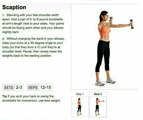 Scaption - arms, shoulders, back | workout | Pinterest