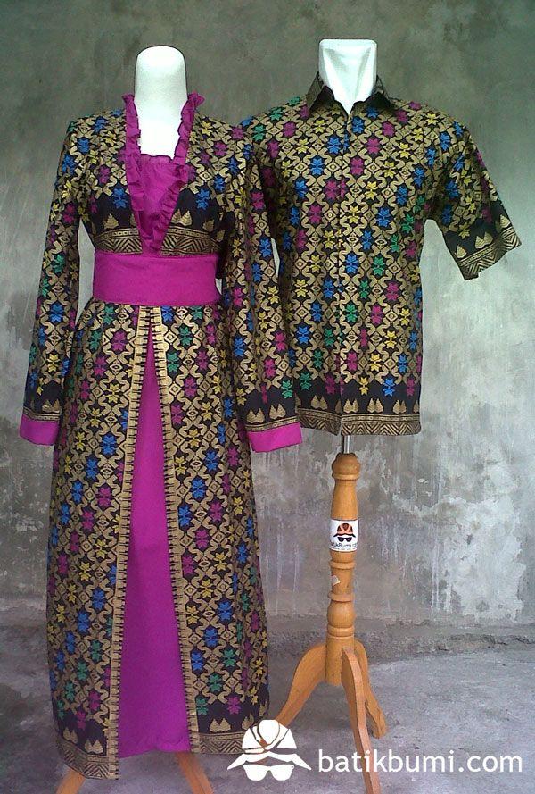 Batik Sarimbit Gamis Motif Prodo Warna Emas Dasar Hitam Dikombinasi