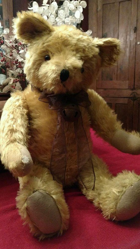 Lovely Yellow/Golden Vintage Mohair 26in Knickerbocker Teddy Bear Jointed #Knickerbocker