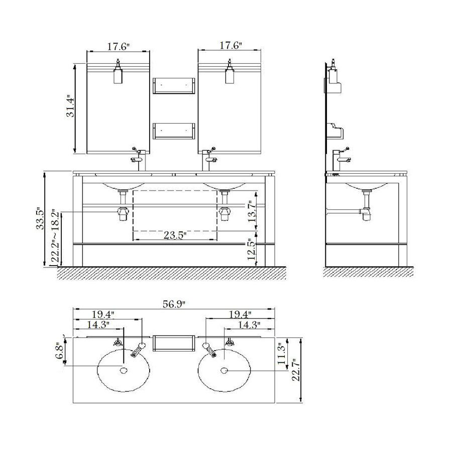 Bathroom sink drawing - Great Bathroom Vanity Dimensions Standard Outstanding Double Sink