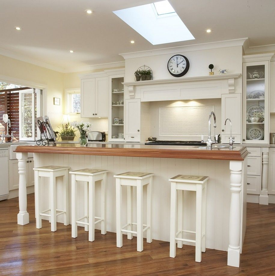 English Kitchen Design: Depiction Of White Wood Bar Stools