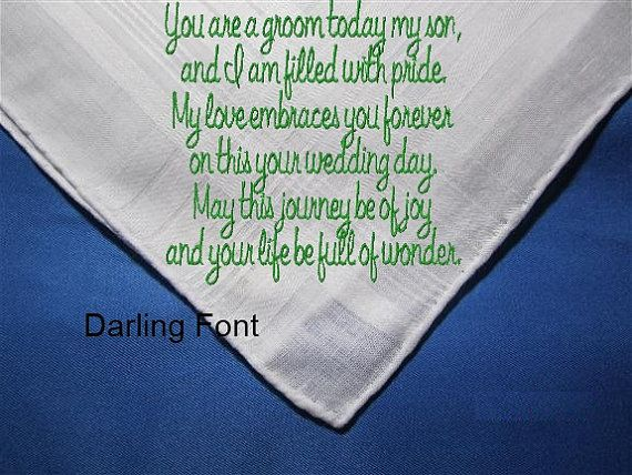 Mother Of The Groom Bride To Her Child On His Wedding Day A Unique Heirloom Hankie With Gifting Envelop Hankerchief Written In Love
