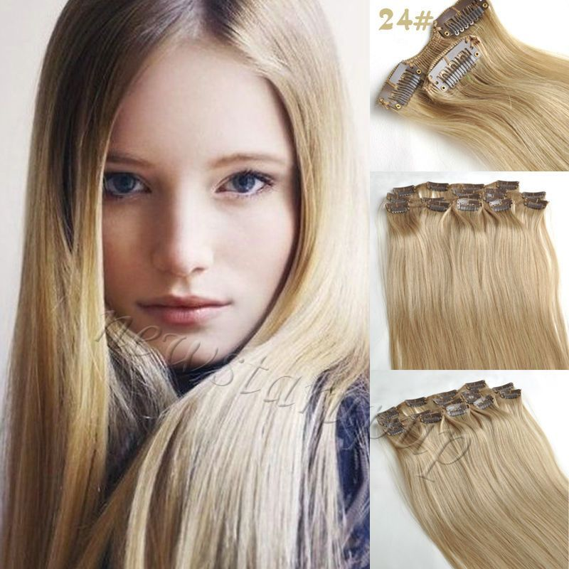 099 Gbp 24 Natural Blonde 7pcsset Clip In Full Head Remy Human