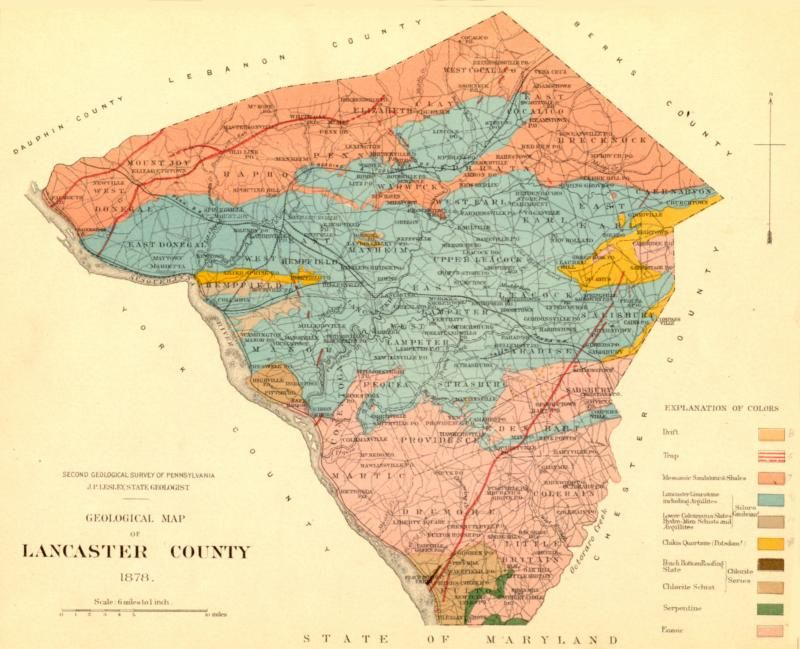 Geological map of Lancaster County PA   mapSCAPE   Pinterest     Geological map of Lancaster County PA