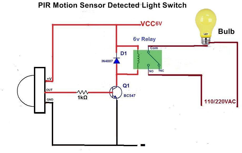 Motion Sensor Light Using Led Bulb And Pir Sensor Gillanidata Com Com Imagens Esquemas Eletronicos Electronics Projects Circuito Eletronico
