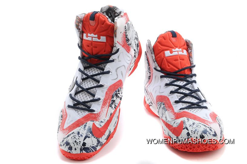 a00c3d366c164 Nike LeBron James 11 White-Red Navy Blue Online