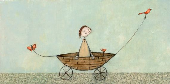 Girl in boat with birdbutterfly and coffee by lisahurwitz on Etsy