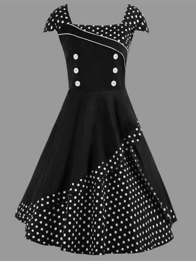 A Line Polka Dot Plus Size Vintage Dress Gun Pestaa Pinterest
