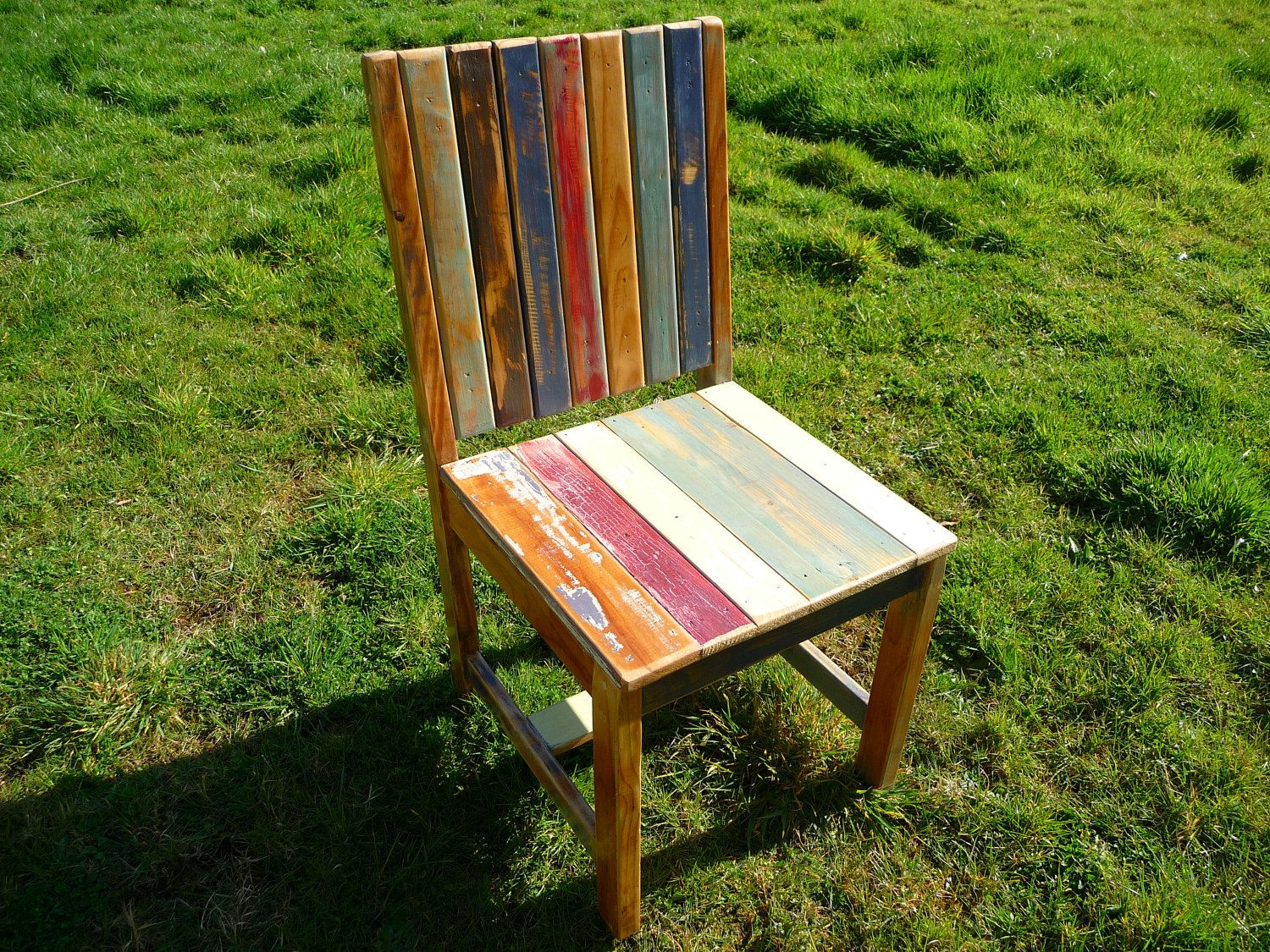 SALE Hand made reclaimed wood chair. Painted and distressed.. $102.00, via Etsy. - Recycled, reclaimed pine from a variety of sources. Totally awesome!