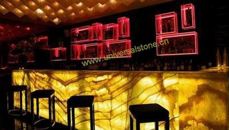 Orange Onyx Glass Bar Top Backlit