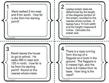 Pythagorean Theorem Word Problems Task Cards | Word problems and ...